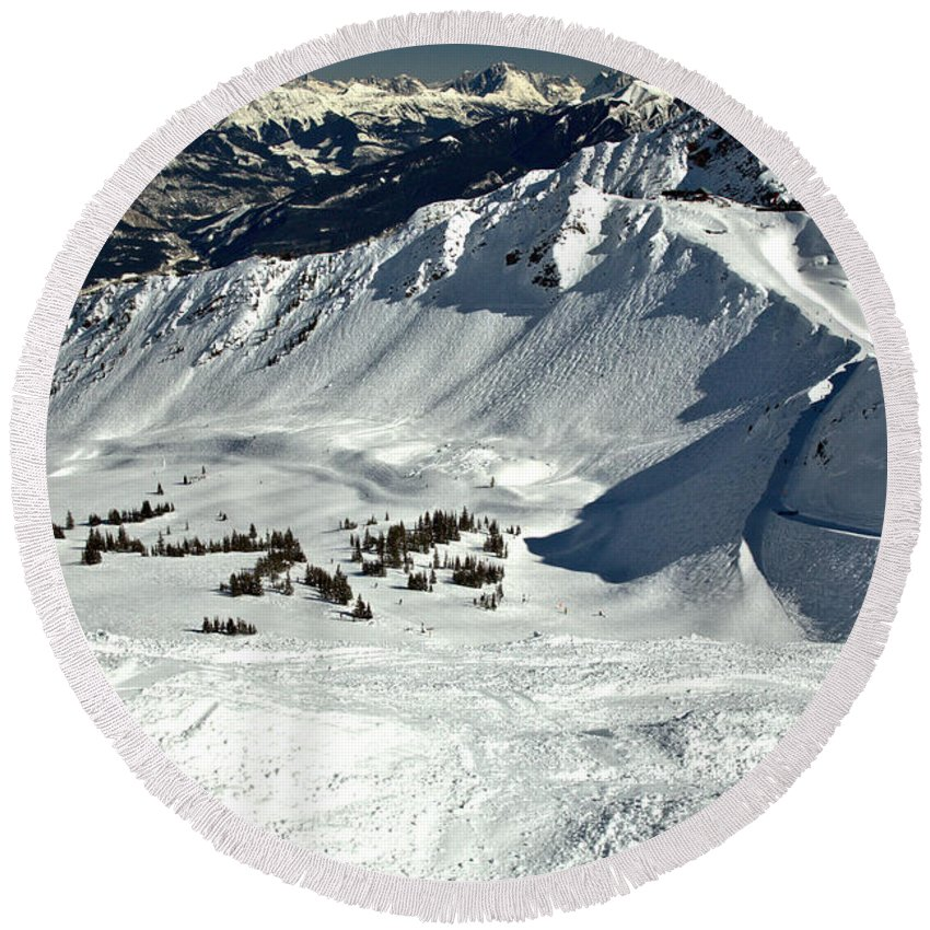 Kicking Horse Round Beach Towel featuring the photograph Endless Cpr Ridge At Kicking Horse by Adam Jewell