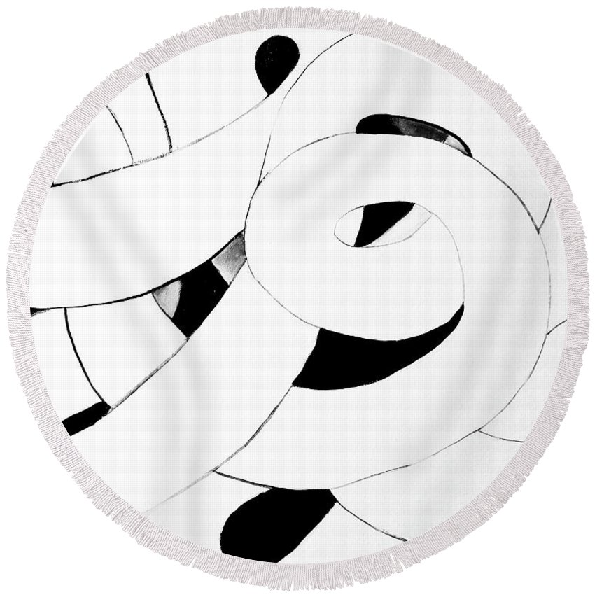 Original Artwork .minimalist Design .dramatic White On Black Looping Coiling Tube .simple Elegant Fun . Round Beach Towel featuring the painting Endless Loop by Expressionistart studio Priscilla Batzell