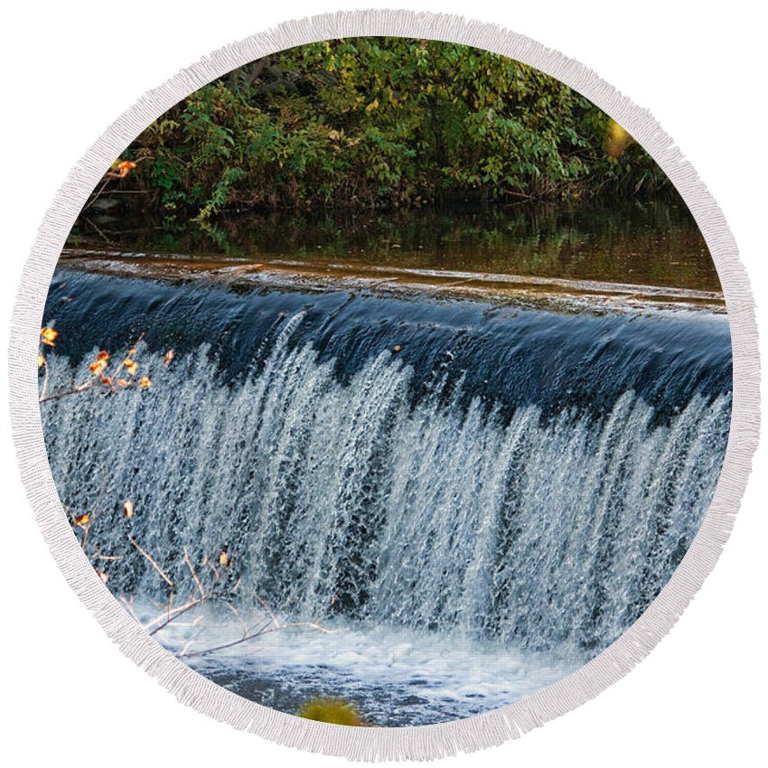 Waterfall Round Beach Towel featuring the photograph Endlessly Falling by Mike Smale