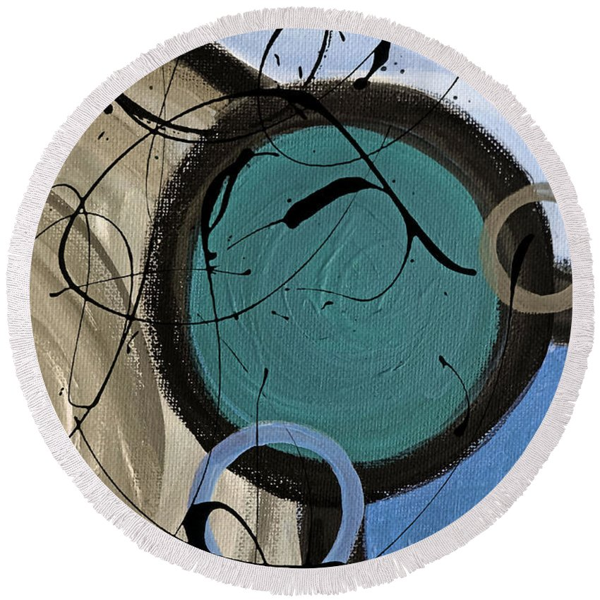 Abstract Round Beach Towel featuring the painting Energy Flow II by Ruth Palmer