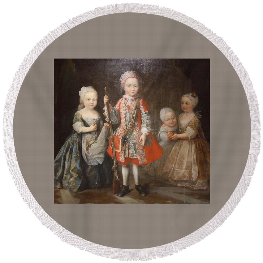 Enfants Round Beach Towel featuring the digital art Enfants by Frederick Holiday