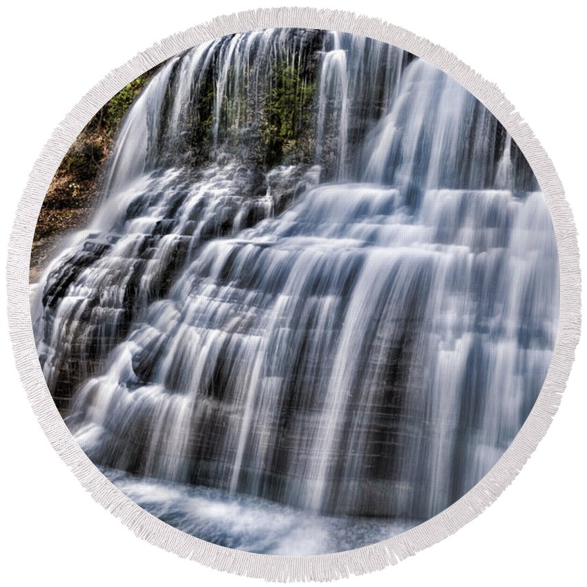 Ithaca Round Beach Towel featuring the photograph Lower Falls #4 by Stephen Stookey