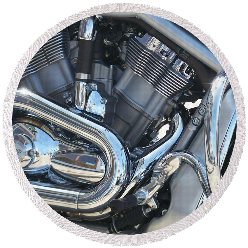 Motorcycle Round Beach Towel featuring the photograph Engine Close-up 1 by Anita Burgermeister