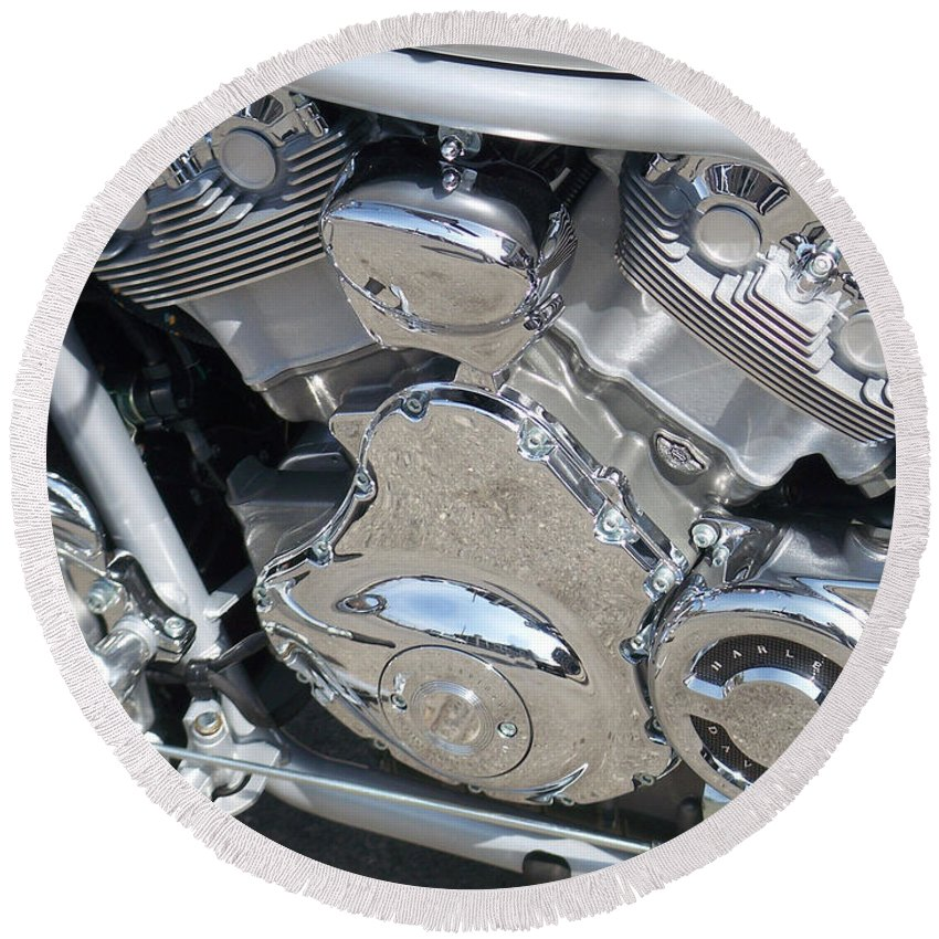 Motorcycle Round Beach Towel featuring the photograph Engine Close-up 2 by Anita Burgermeister