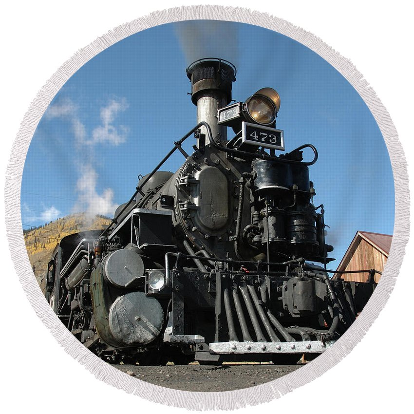 Train Round Beach Towel featuring the photograph Engine Number 473 by Jerry McElroy