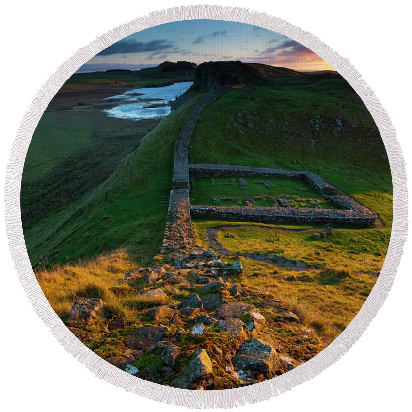 Round Beach Towel featuring the photograph England, Northumberland, Hadrians Wall by Jason Friend