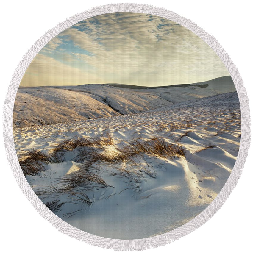 2016prints Round Beach Towel featuring the photograph England, Northumberland, Harthope Valley by Jason Friend