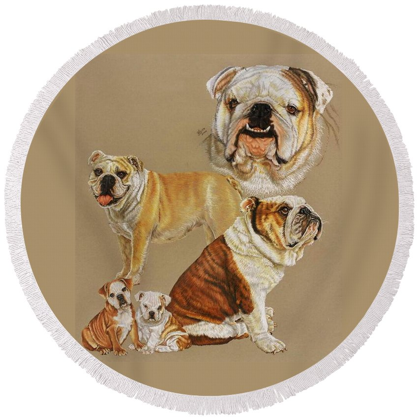 Purebred Round Beach Towel featuring the drawing English Bulldog by Barbara Keith