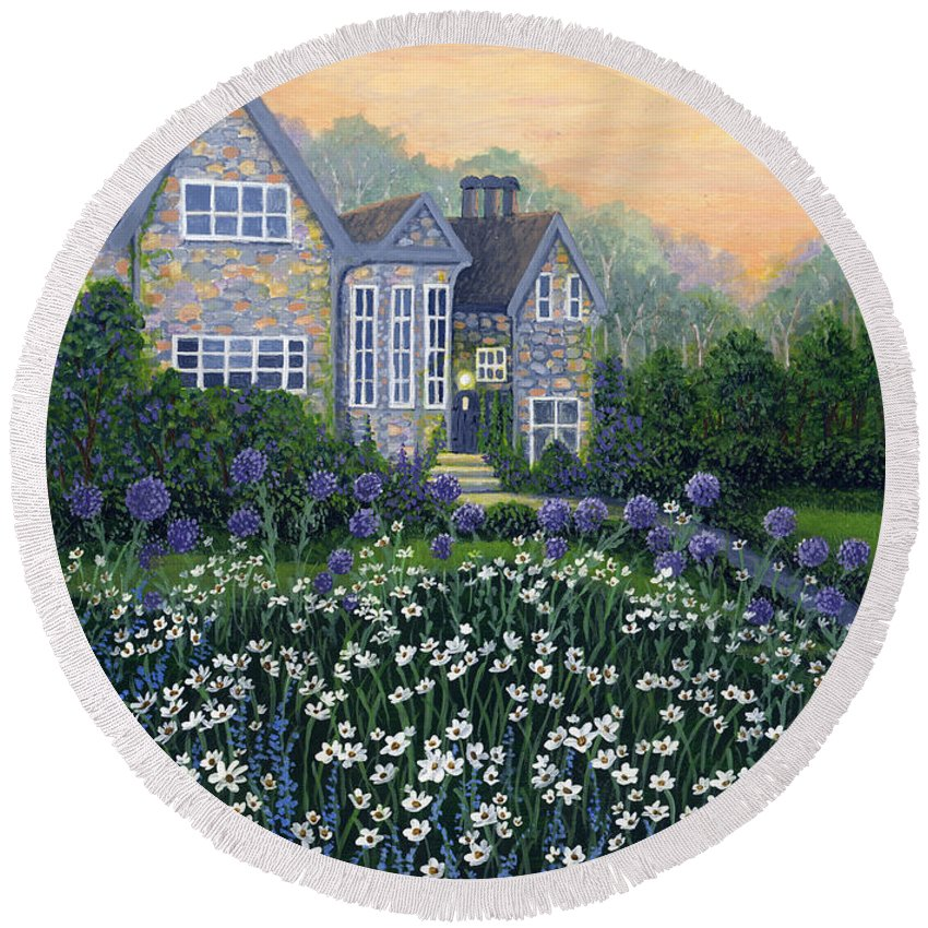 English Cottage Round Beach Towel featuring the painting English Cottage by Bonnie Cook
