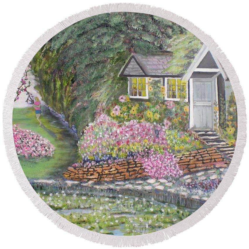 Cottage Round Beach Towel featuring the painting English Cottage by Hal Newhouser