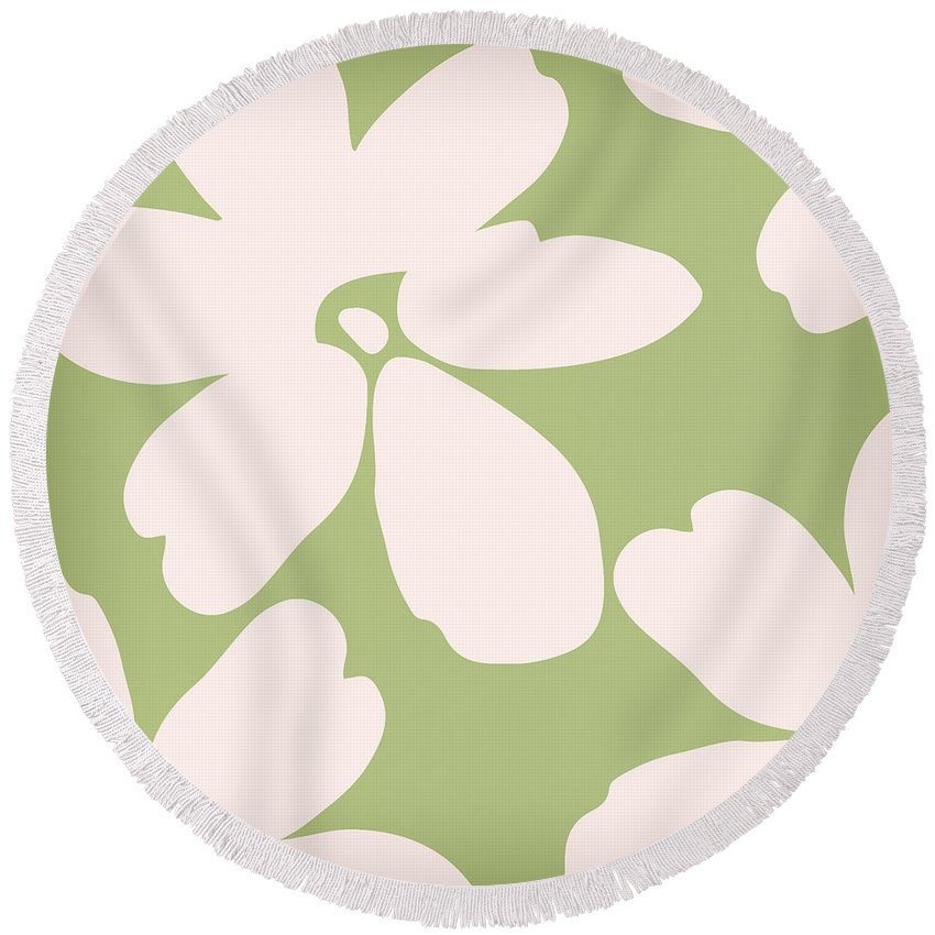 Floral Round Beach Towel featuring the painting English Garden Floral Pattern by Mindy Sommers