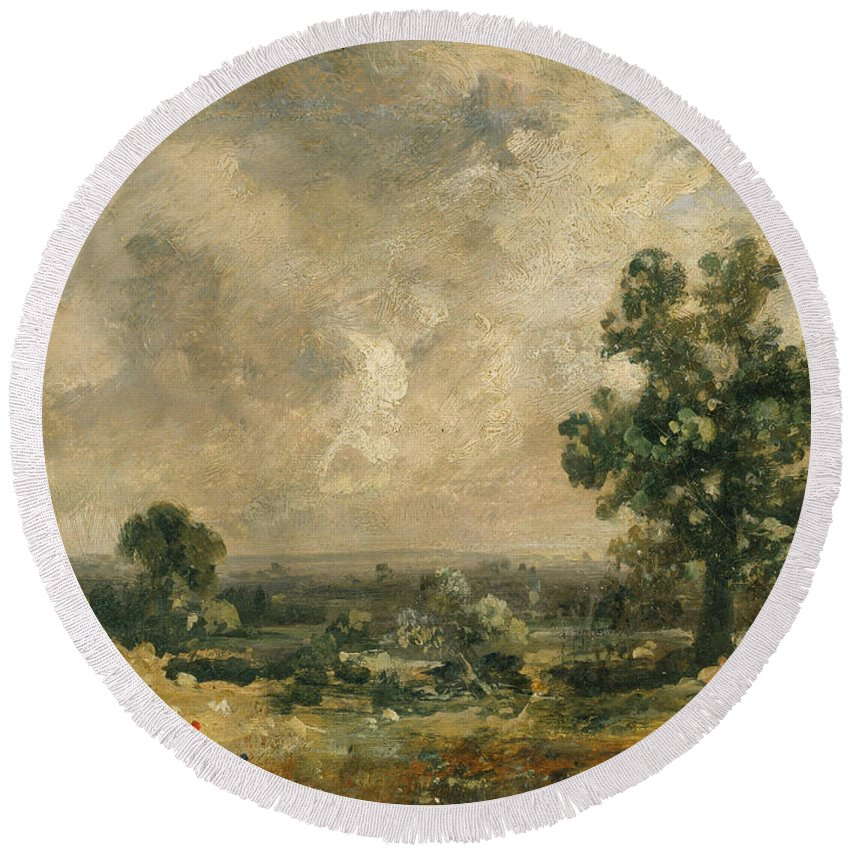English Romantic Painters Round Beach Towel featuring the painting English Landscape by John Constable