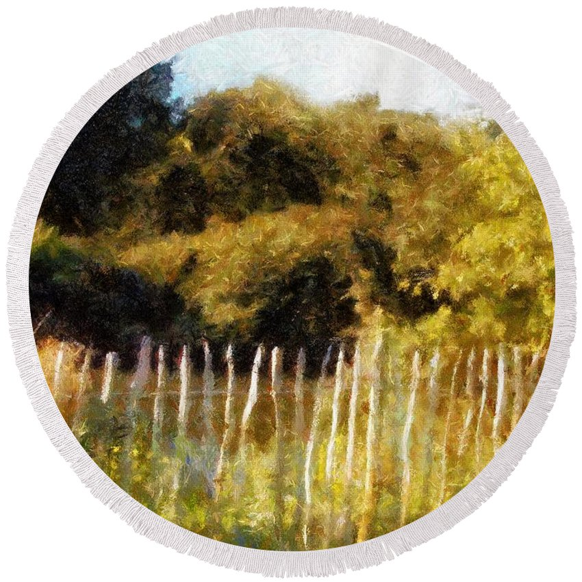 Landscape Round Beach Towel featuring the painting English Pastorale by RC DeWinter