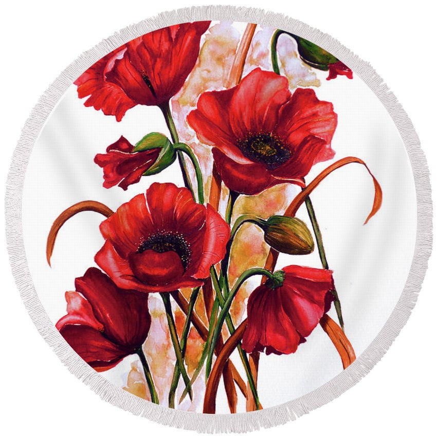 Red Poppies Paintings Floral Paintings Botanical Paintings Flower Paintings Poppy Paintings Field Poppy Painting Greeting Card Paintings Poster Print Painting Canvas Print Painting  Round Beach Towel featuring the painting English Poppies 2 by Karin Dawn Kelshall- Best