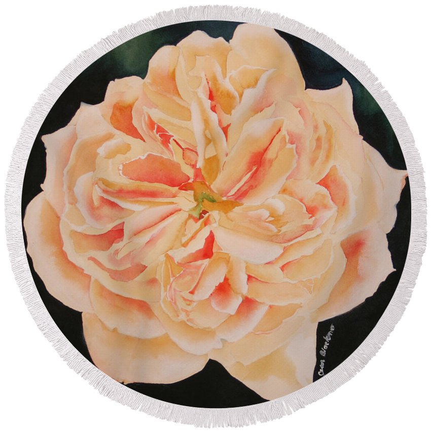 Rose Round Beach Towel featuring the painting English Rose by Jean Blackmer