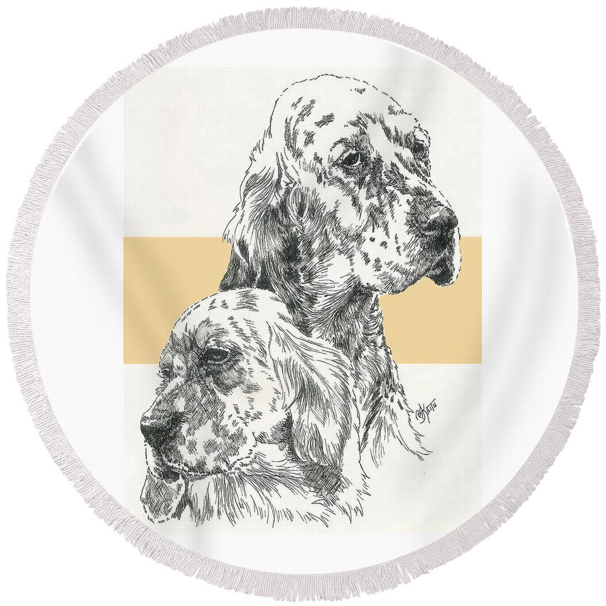 Sporting Group Round Beach Towel featuring the mixed media English Setter And Pup by Barbara Keith