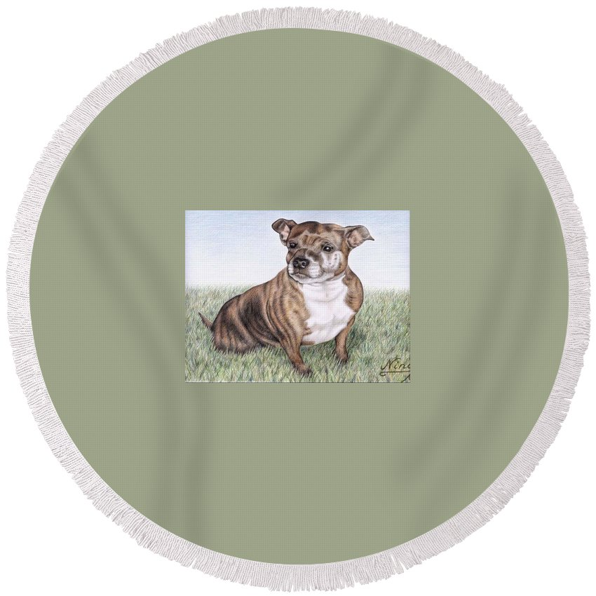Dog Round Beach Towel featuring the drawing English Staffordshire Terrier by Nicole Zeug