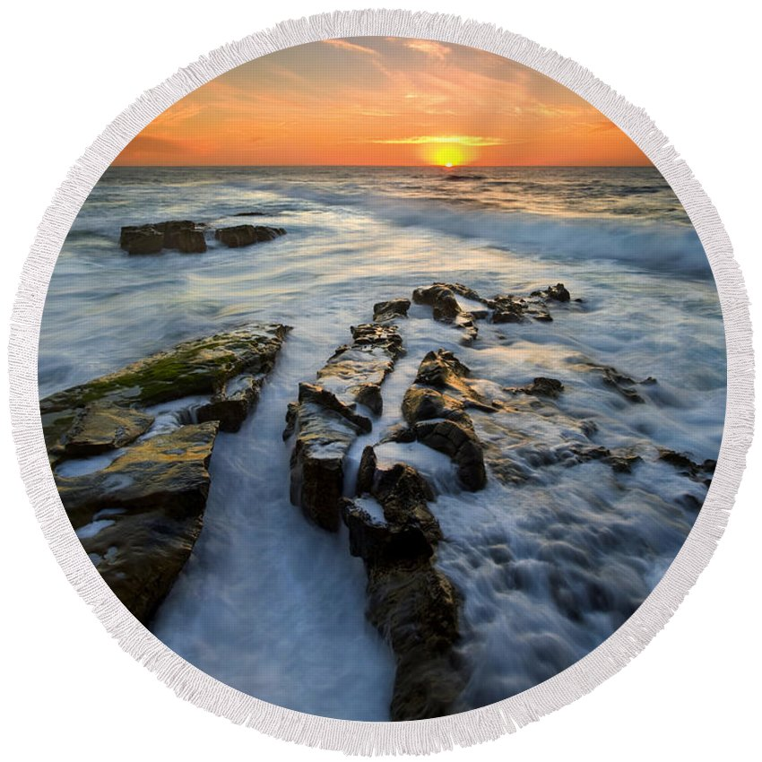 Sunset Round Beach Towel featuring the photograph Engulfed by Mike Dawson