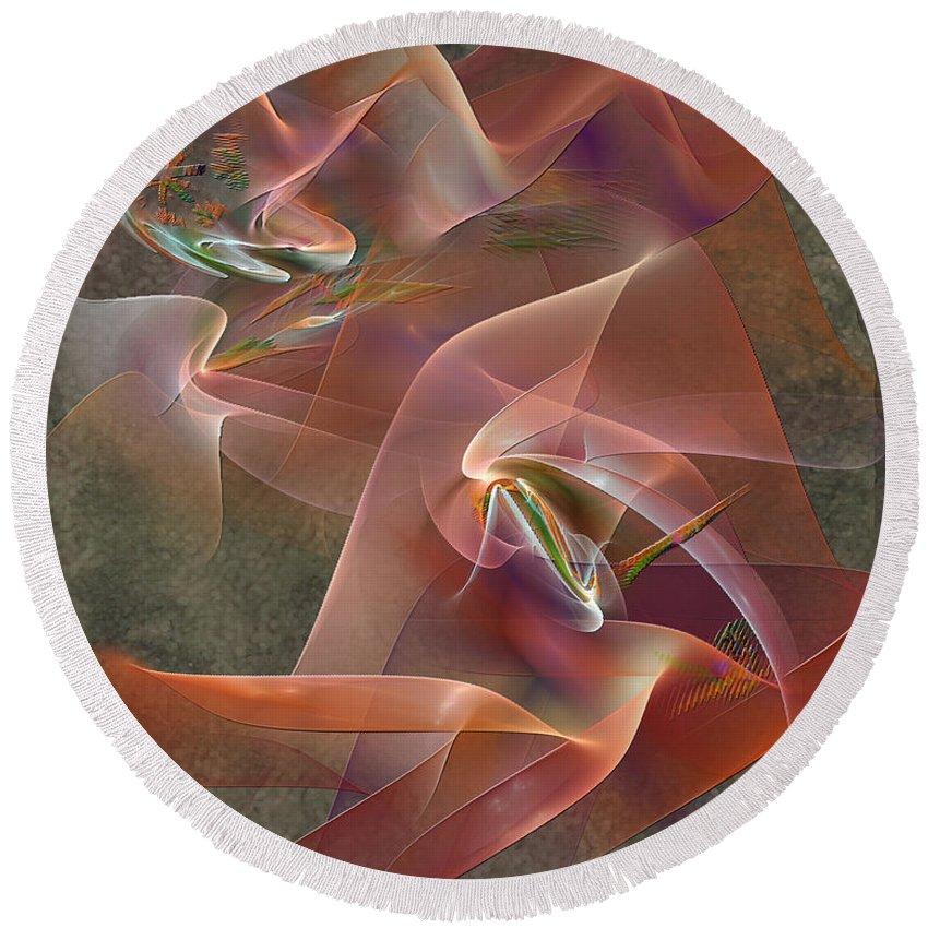 Enhanced Ribbon Round Beach Towel featuring the digital art Enhanced Ribbon by John Beck