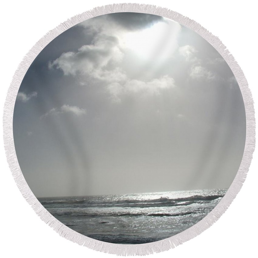 Black And White Round Beach Towel featuring the photograph Enlightened by Shari Chavira