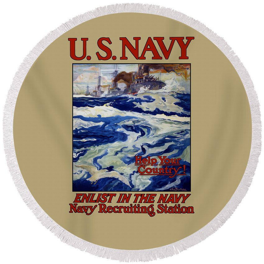 Battleships Round Beach Towel featuring the painting Enlist In The Navy - Help Your Country by War Is Hell Store