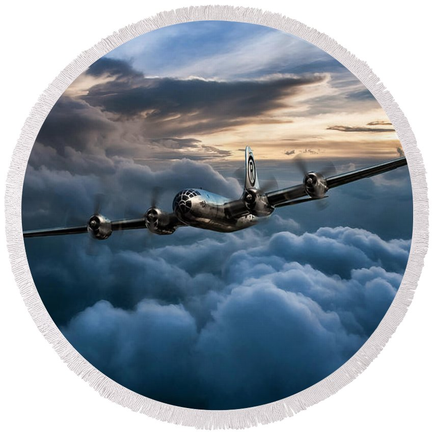 Aviation Round Beach Towel featuring the digital art Enola Gay by Peter Chilelli