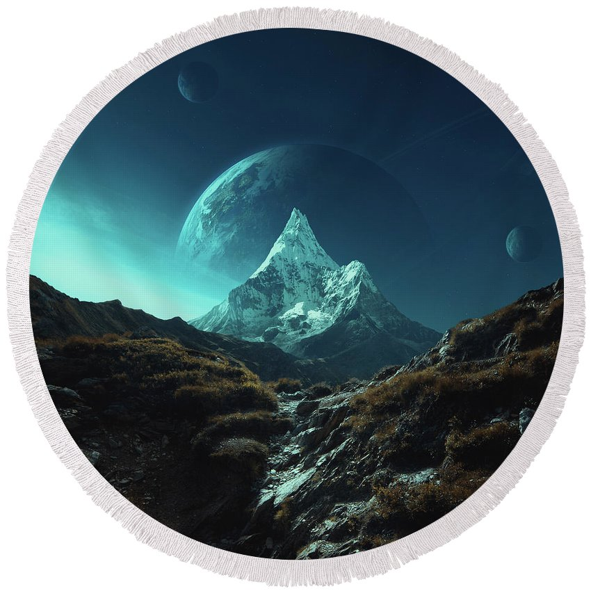 Mountains Landscape Sciencefiction Fantasy Planets Blue Sky Mystery Peak Mountain Rocks Grass Pass Moon Earth Light Round Beach Towel featuring the photograph Enroute To Delta Pavonis by Michal Karcz