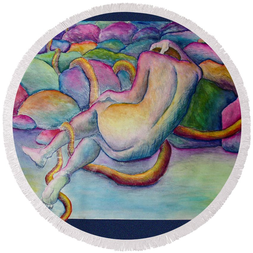 Figure Round Beach Towel featuring the painting Entangled Figure With Rocks by Nancy Mueller