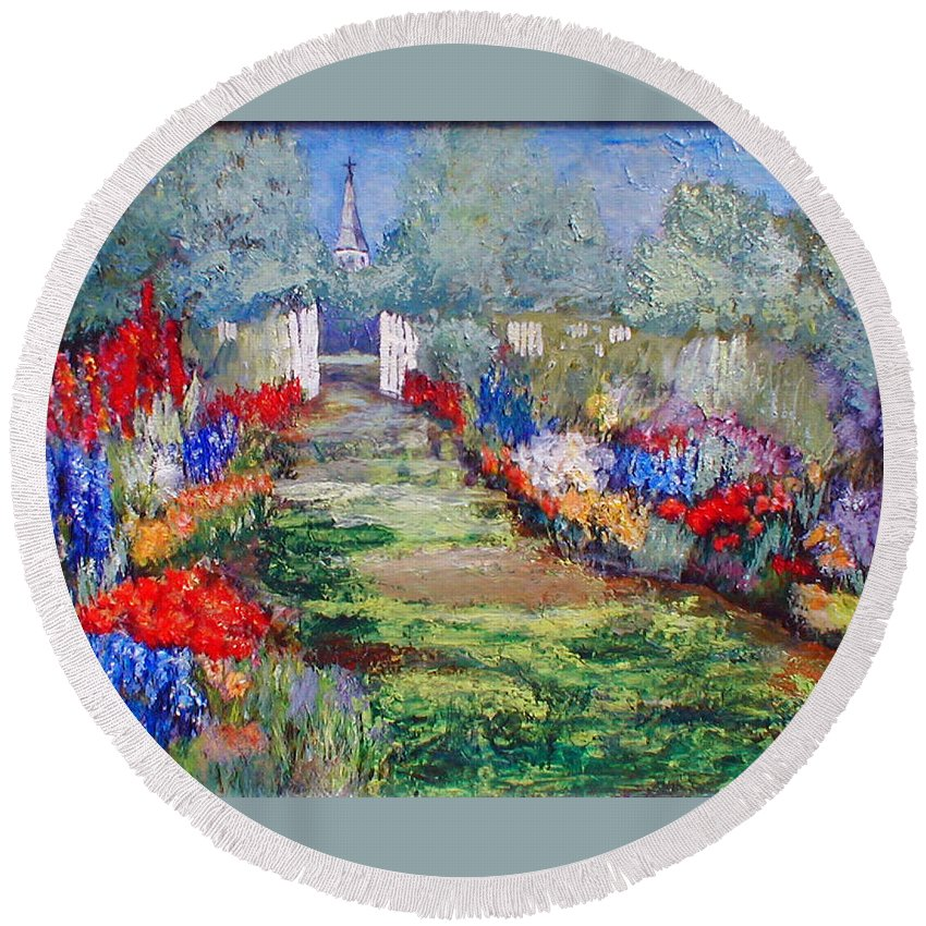 Landscape Round Beach Towel featuring the painting Enter His Gates by Gail Kirtz