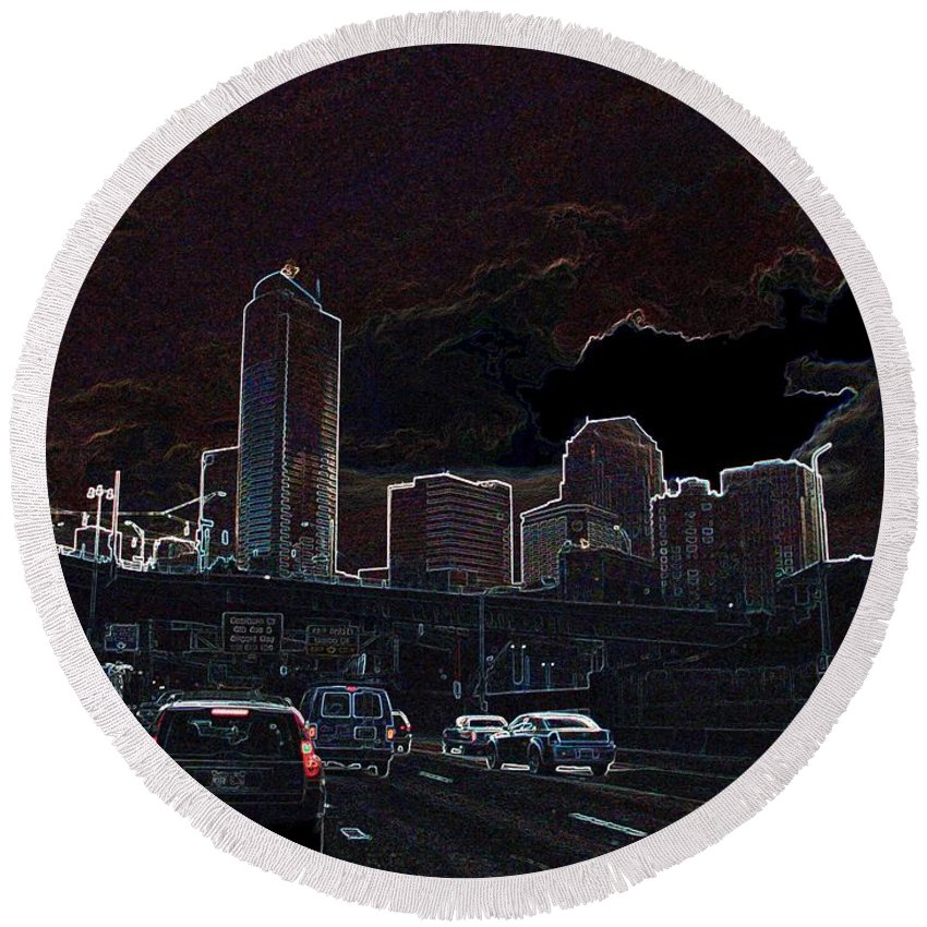 Seattle Round Beach Towel featuring the photograph Entering The City by Ron Bissett