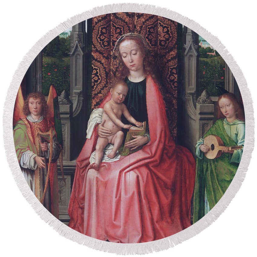 Angel Round Beach Towel featuring the painting Enthroned Virgin And Child, With Angels by Gerard David