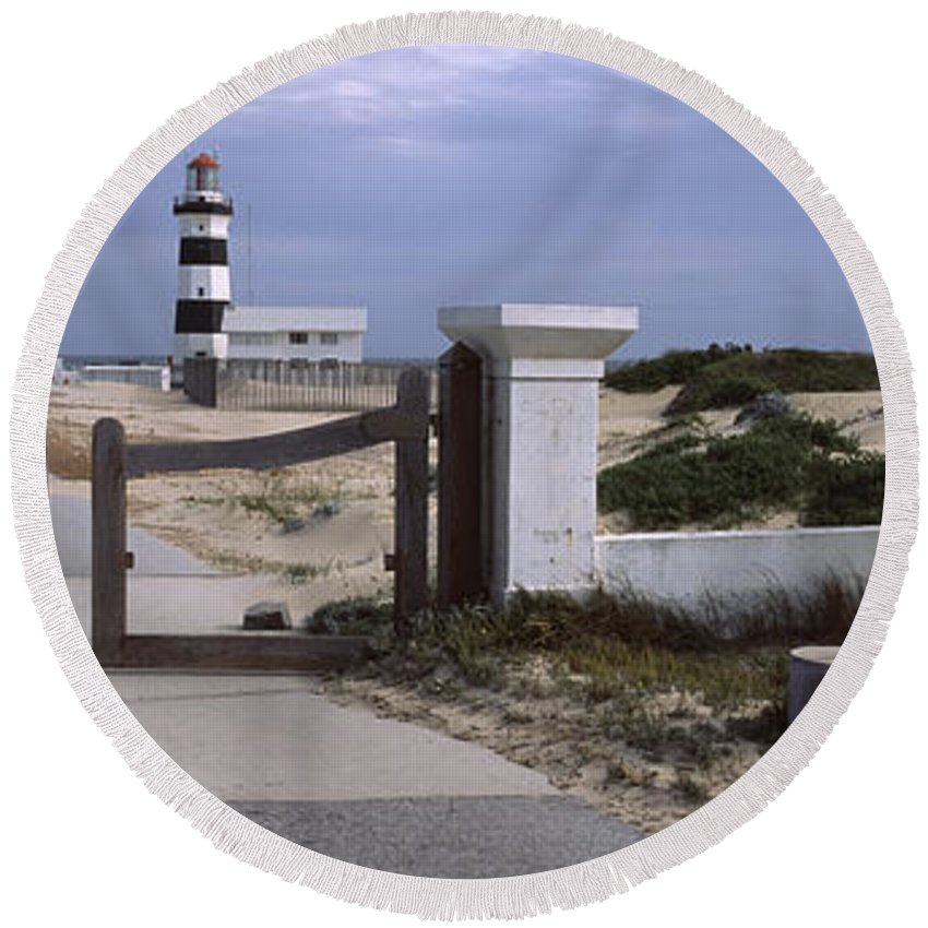 Photography Round Beach Towel featuring the photograph Entrance Of A Lighthouse, Cape Recife by Panoramic Images
