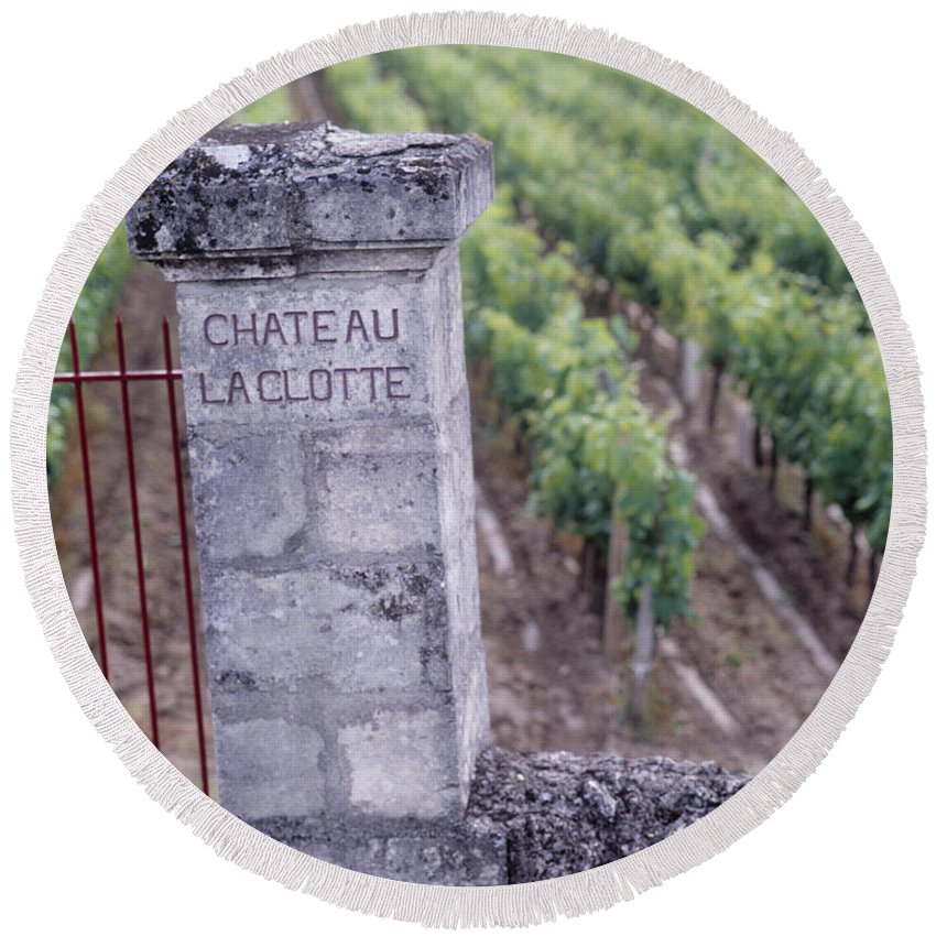 Photography Round Beach Towel featuring the photograph Entrance Of A Vineyard, Chateau La by Panoramic Images