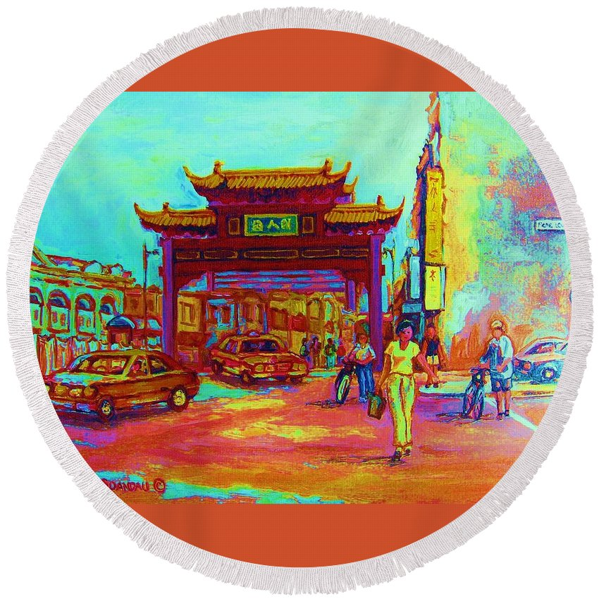 Montreal Round Beach Towel featuring the painting Entrance To Chinatown by Carole Spandau