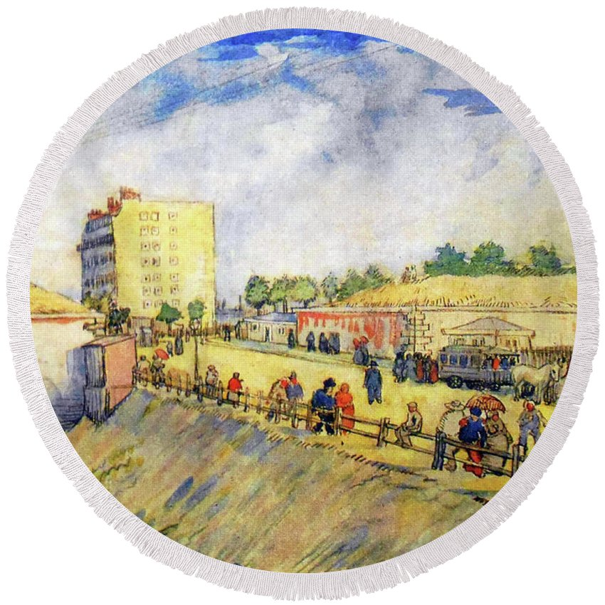 Van Gogh Round Beach Towel featuring the painting Entrance To Paris With A Horsecar by Vincent van Gogh