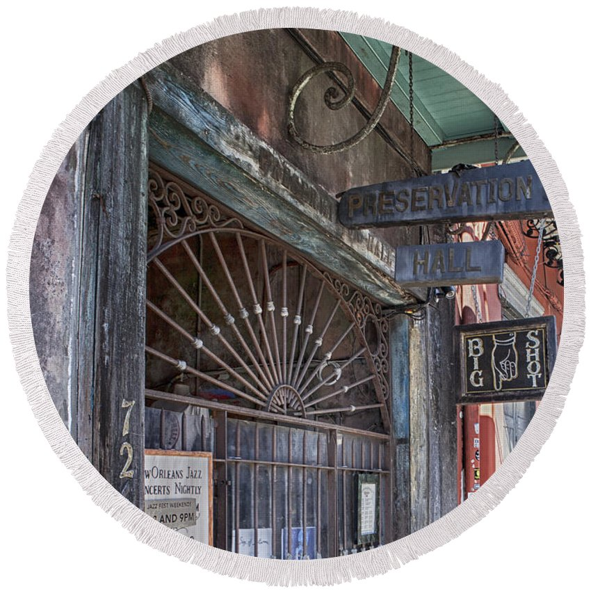 New Orleans Round Beach Towel featuring the photograph Entrance To Preservation Hall, New Orleans by Lori Werhane