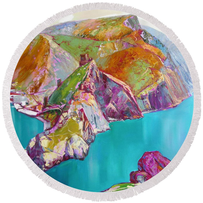 Ignatenko Round Beach Towel featuring the painting Entry To Balaklaw by Sergey Ignatenko