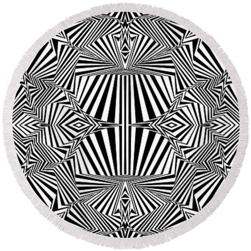 Dynamic Black And White Round Beach Towel featuring the painting Enuf Is Enuf by Douglas Christian Larsen
