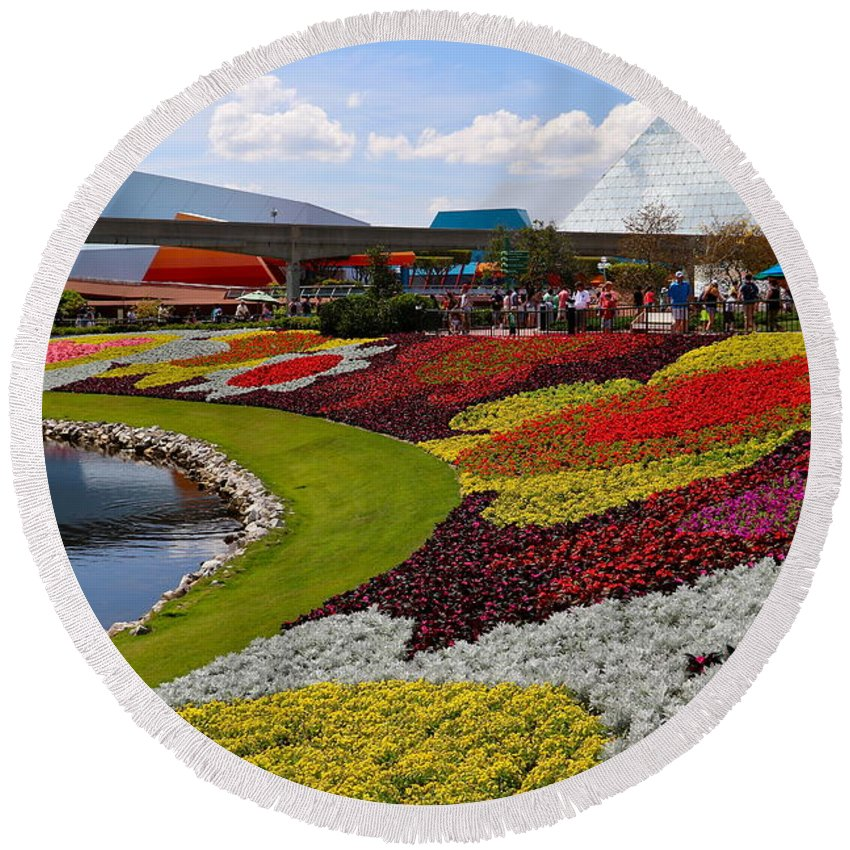 Epcot Round Beach Towel featuring the photograph Epcot Gardens by Denise Mazzocco