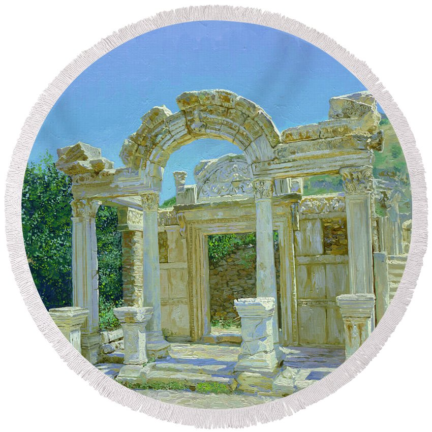 Ephesus Round Beach Towel featuring the painting Ephesus.ruins by Simon Kozhin