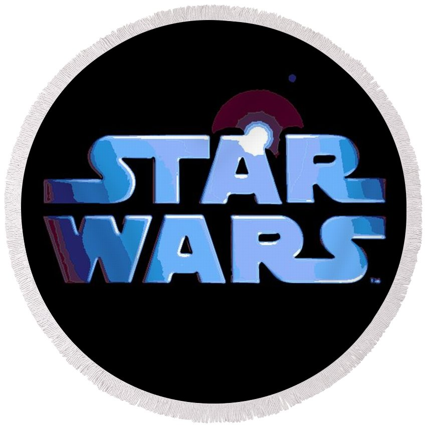 Star Wars Round Beach Towel featuring the digital art Epic In 2 Words by George Pedro