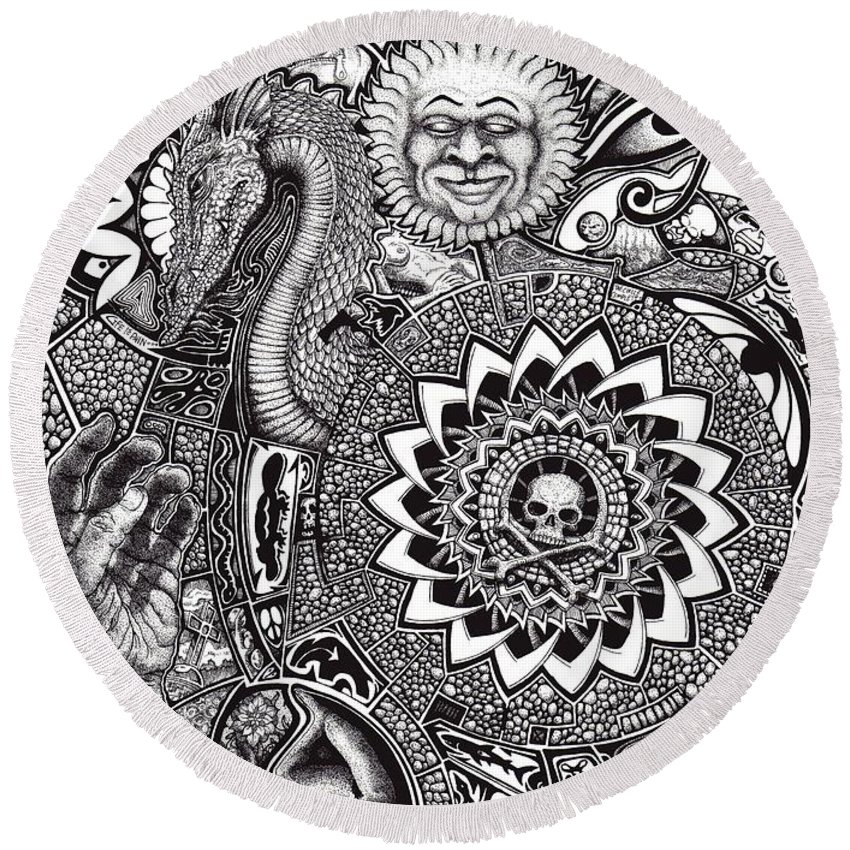 Black And White Round Beach Towel featuring the drawing Epiphany by Tobey Anderson