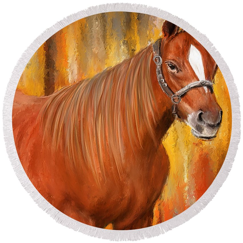 Horse Racing Round Beach Towel featuring the painting Equine Prestige - Horse Paintings by Lourry Legarde