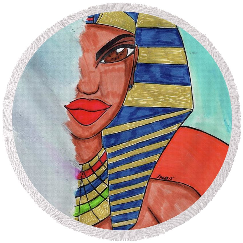 Queen Hatshepsut Round Beach Towel featuring the mixed media Erase Me Not by Ronald Woods