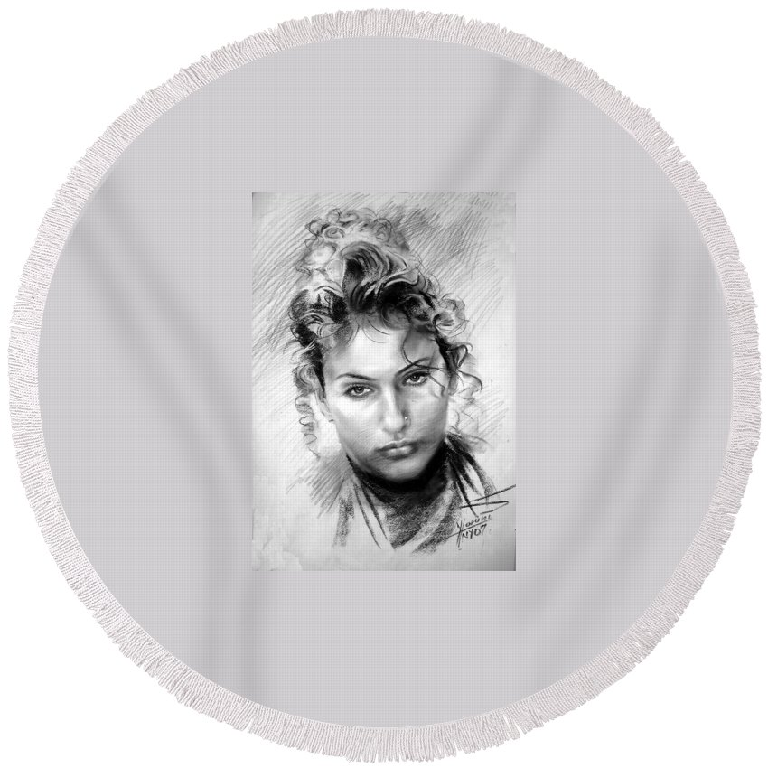 Portrait Round Beach Towel featuring the drawing Erbora by Ylli Haruni