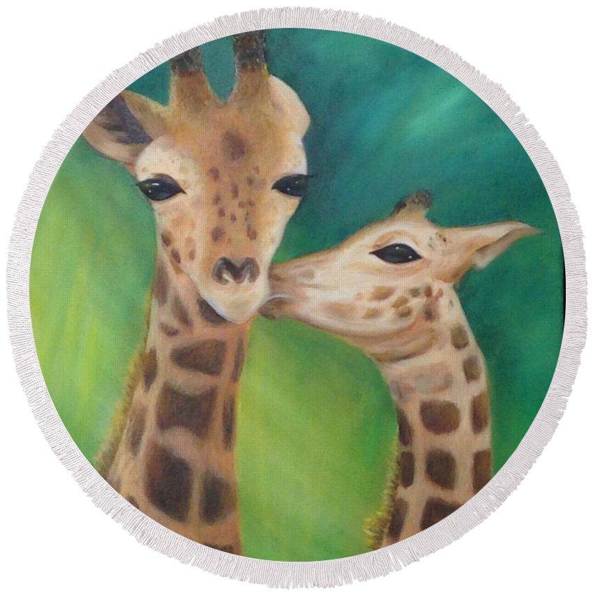 Giraffes Round Beach Towel featuring the painting Erina's Giraffes by Karen Cress