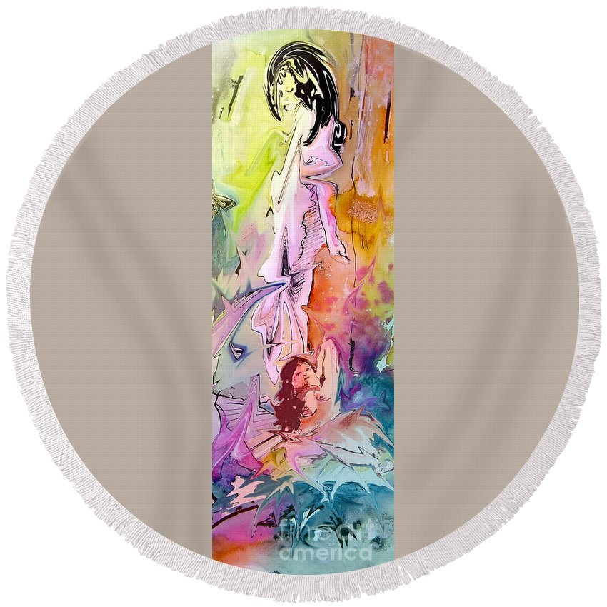 Miki Round Beach Towel featuring the painting Eroscape 09 1 by Miki De Goodaboom