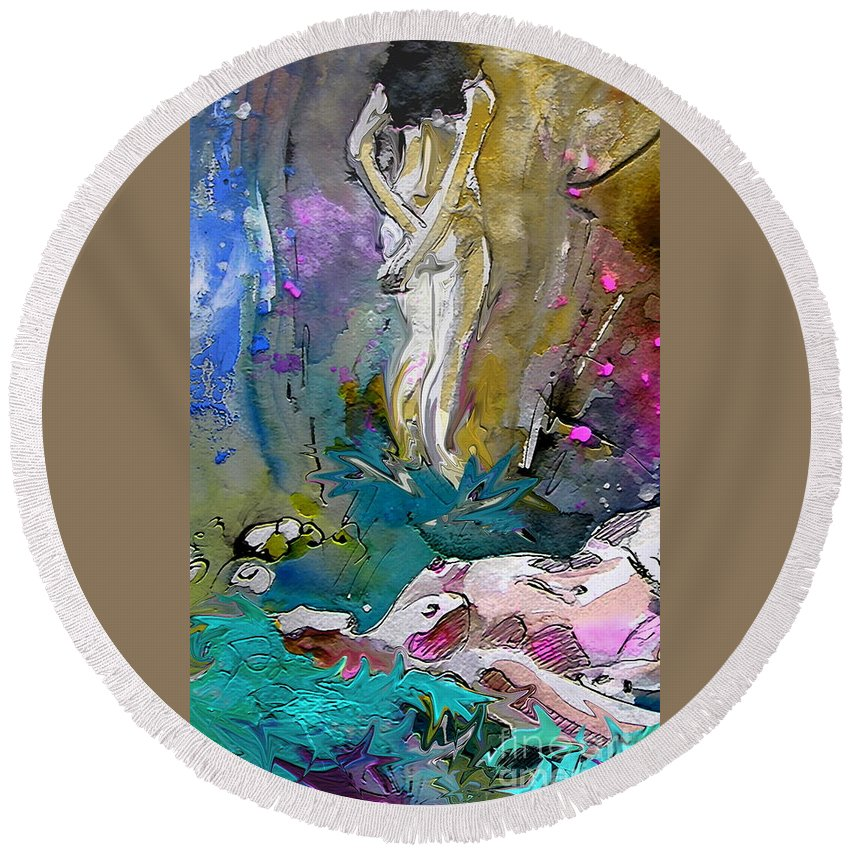 Miki Round Beach Towel featuring the painting Eroscape 1104 by Miki De Goodaboom