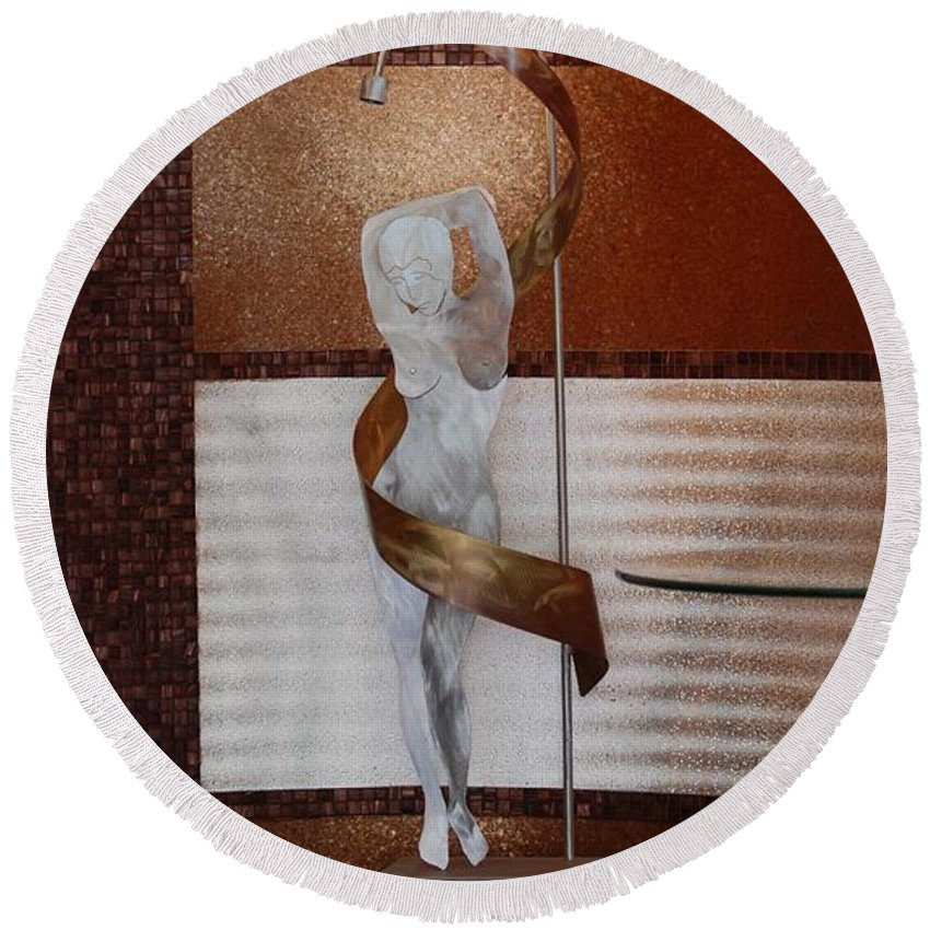 Statue Round Beach Towel featuring the photograph Erotic Museum Piece by Rob Hans