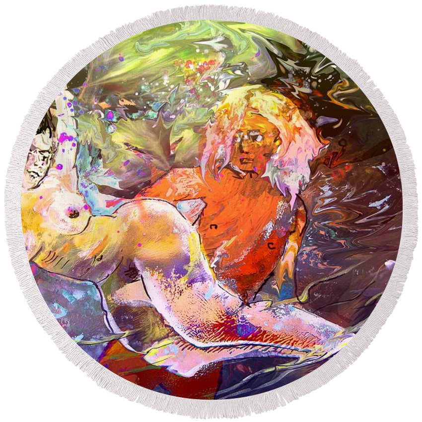 Miki Round Beach Towel featuring the painting Erotype 06 1 by Miki De Goodaboom